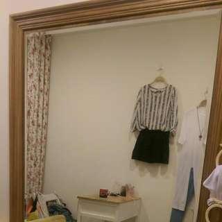 服飾店生財工具訂做 鄉村風 木框大面鏡全身鏡