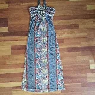 Stretchy Halter Maxi Dress AU8