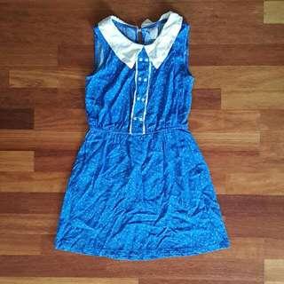 Blue n White Polkadot PeterPan Collar Dress