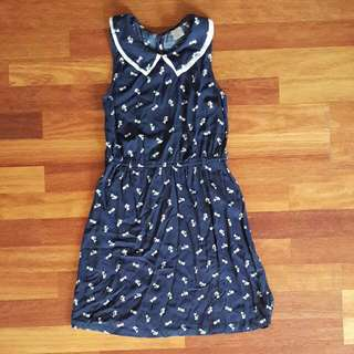 Kitten Pattern PeterPan Collared Dress