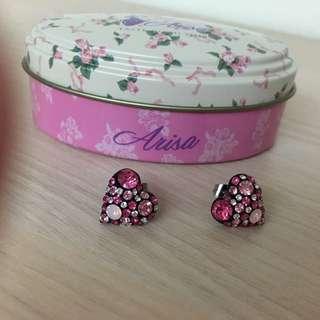 栗子 桃紅粉鑽愛心耳環