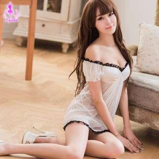 性感睡衣 純白黑色蕾絲滾邊兩件式薄紗睡衣WNA09020135