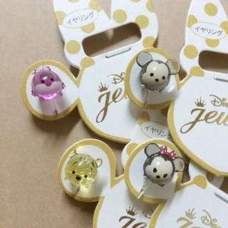 日本 迪士尼 商店 tsum tsum 米奇 米尼 維尼 妙妙貓 愛麗絲 糖果 透明 夾式 耳環 飾品 項鍊