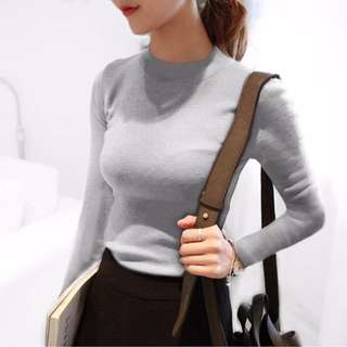 BN Grey Crew Neck Knit Long Sleeves Top