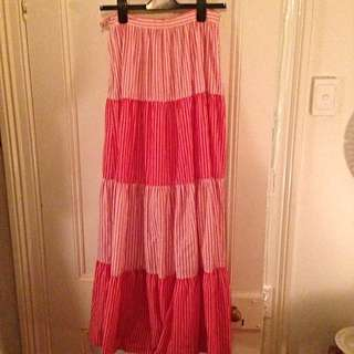 Vintage Red & White Maxi Skirt