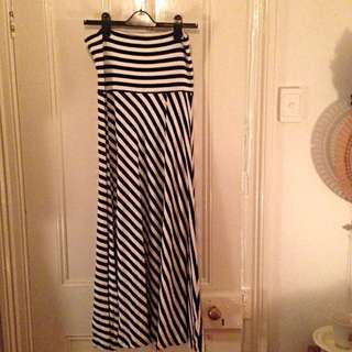 GAP Navy & White Maxi Skirt