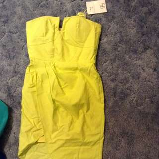 Yellow Strapless Dress