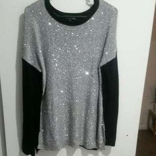 Grey And Black Sequin Knit Jumper Side Splits - SIZE LARGE
