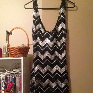 Sequin Silver And Black Dress