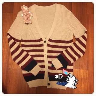 韓國🇰🇷購入● 粗針木釦米酒紅條文針織外套