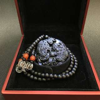 Three Legged Money Toad Black Jade With Crystal Beaded Necklace