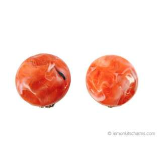 Vintage 1950s Orange Marbled Lucite Clip Earrings, Round Button Style, er37