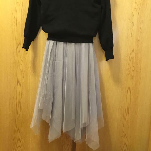 (套裝價)一字領上衣🔄灰色裙擺不規則紗裙