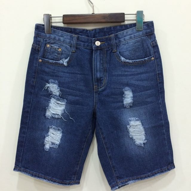 韓國雜誌款/深藍/小破壞牛仔短褲