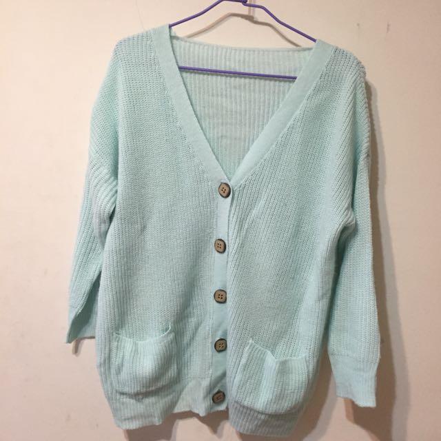 湖水綠蒂芬妮綠針織外套