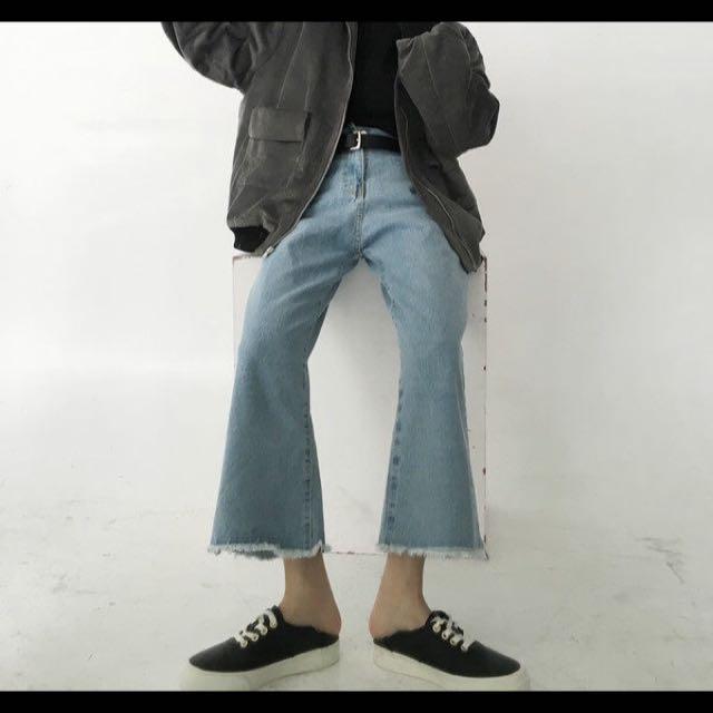 九分牛仔寬褲
