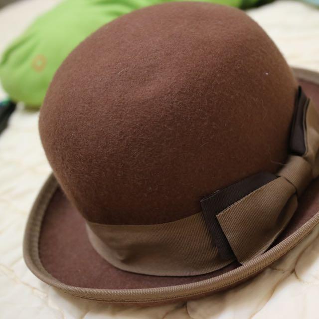 咖啡色 紳士帽 小圓帽