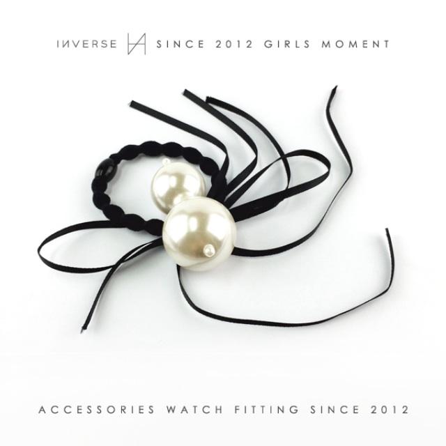 A0301-歐美氣質大珍珠造型黑色細緞帶髮圈手環