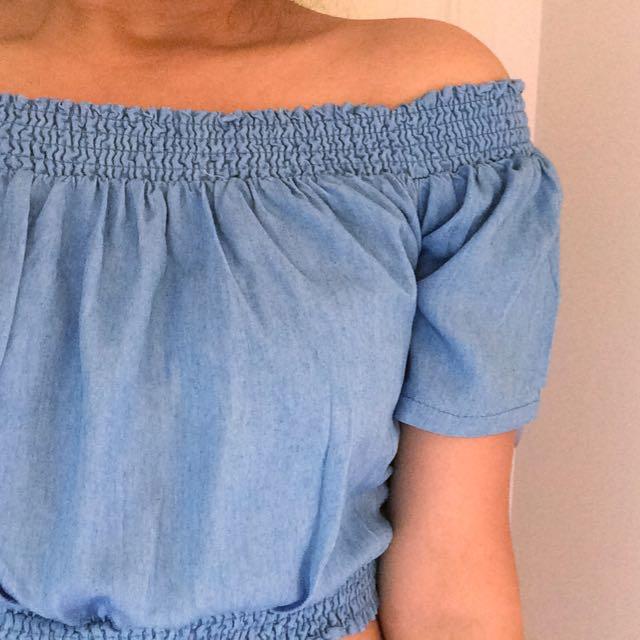 Denim Blue Off The Shoulder Crop Top