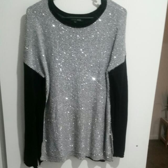 Grey And Black Sequin Knit Jumper Side Splits - SIZE LARGE