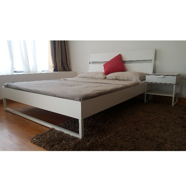 IKEA - Queen Bed Frame with matterss and bedside table - TRYSIL Bed ...