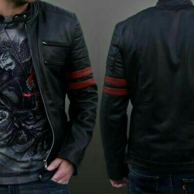 Jaket Kjlit Tahan Air/hitam Garis Merah X--men