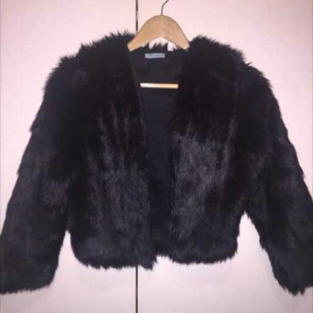 Kookai Faux Fur Crop Jacket Size 36