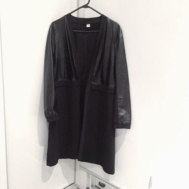 Neoprene+Faux Leather Long Jacket