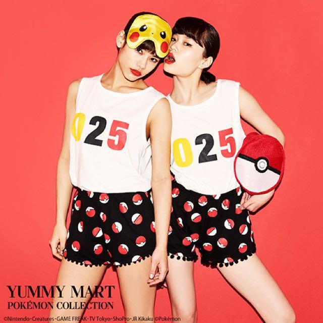 日本代購-Peach John❤️Yummy Mart20週年 皮卡丘聯名睡衣 內褲 眼罩 斗篷 神奇寶貝球收納袋