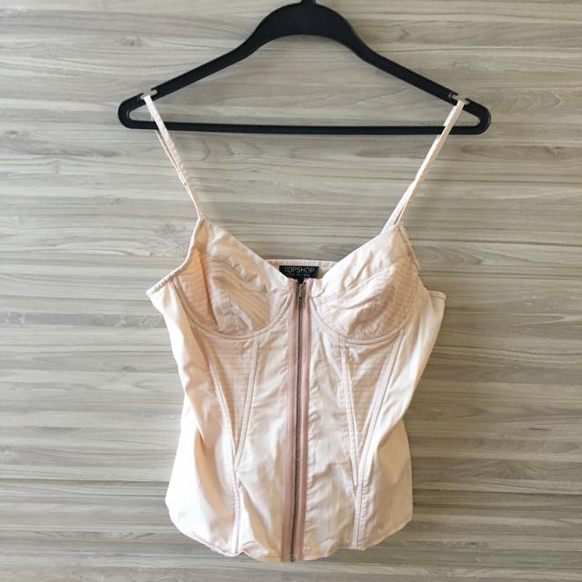 Preloved Nude Corset Top From Topshop