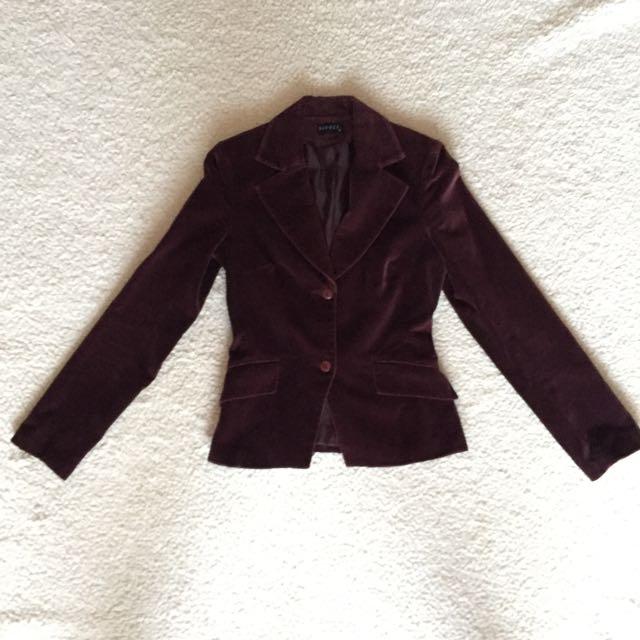 Seduce Plum Velvet Tailored Blazer S6