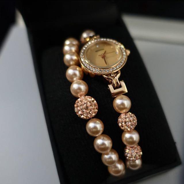 母親節禮物首選SEKONDA 玫瑰金水鑽珍珠手錶手鍊項鍊三件套裝組