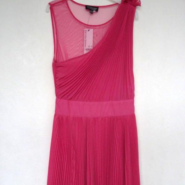 Spotlight By Warehouse Pink Pleat Chiffon Dress Uk 8