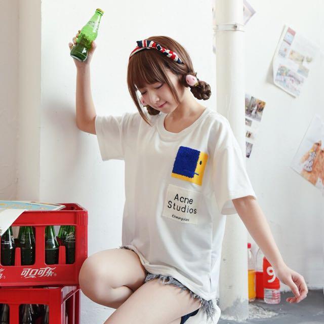 日系♥森林系青春俏皮女孩毛線字母磨毛臉譜貼布圓領T恤短袖上衣
