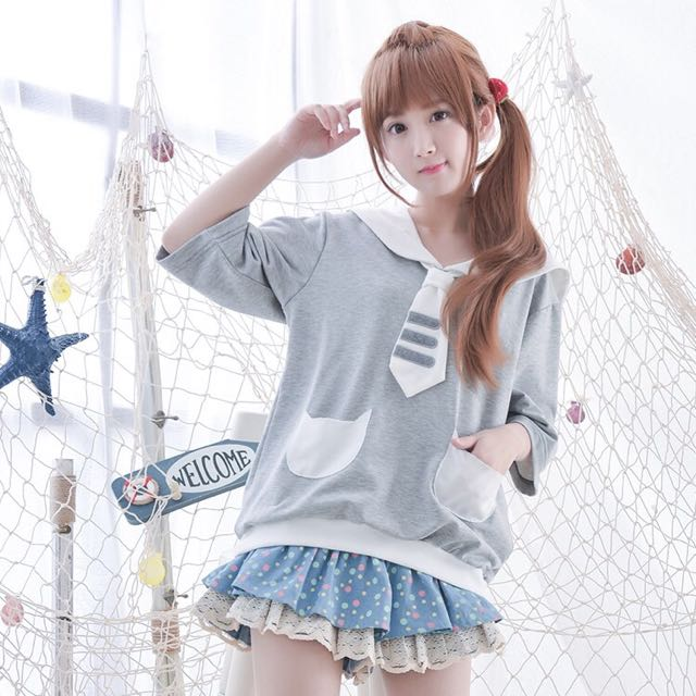 日系♥日單森林系俏皮可愛貓腳印刺繡海軍翻領貓造型口袋短袖上衣T恤