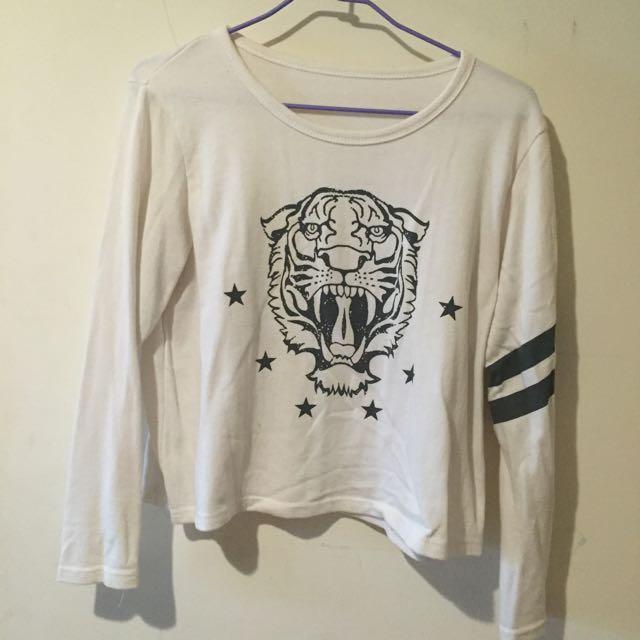 老虎單邊條紋t恤