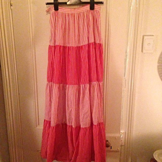 Vintage Red & White Maxi Skirt