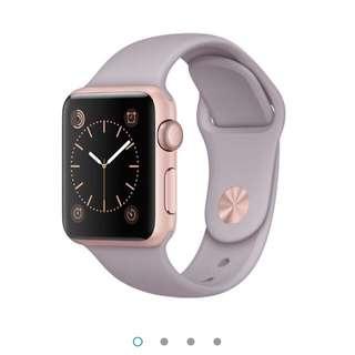 Apple Watch 玫瑰金框 有兩種錶帶