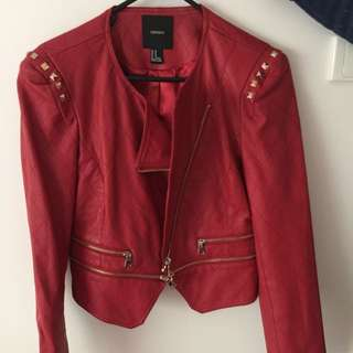 Forever 21 Red Faux Leather Jacket