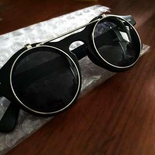 太陽眼鏡 墨鏡 圓 黑框