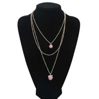 Pink Pendant Triple Layered Necklace