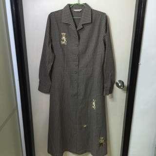 日本購買淡紫色熊熊長版A字洋裝