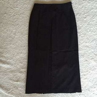 Cue Mid Length Brown Pinstripe Skirt S6