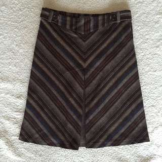 Forecast Brown Striped A-Line Skirt S6