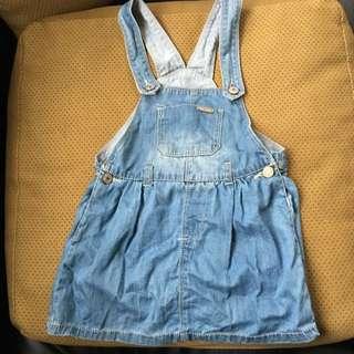 極新 僅穿一次 吊帶牛仔洋 適合2-3歲的女童