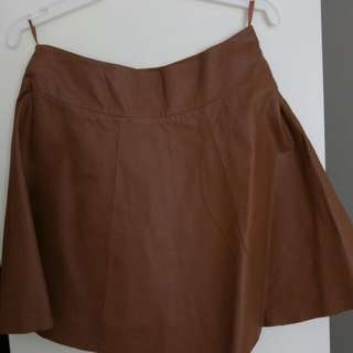 Brown Leather Skirt - Size 8