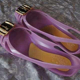 Violet Salvatore Ferragamo Jelly Flats
