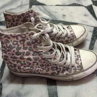 豹紋帆布鞋converse