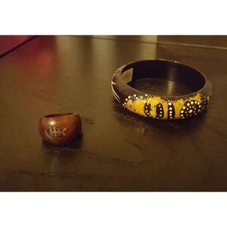 Aboriginal Style Bracelet and ring