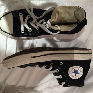 Black High Top Converse - Size 8 Woman's